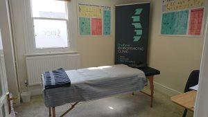 Chiropractic massage room bench